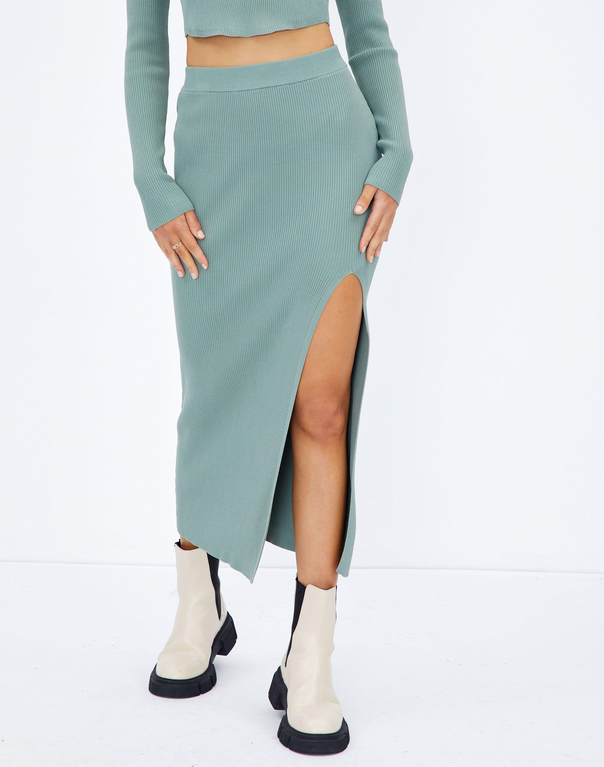 Knit Side Split Midi Skirt