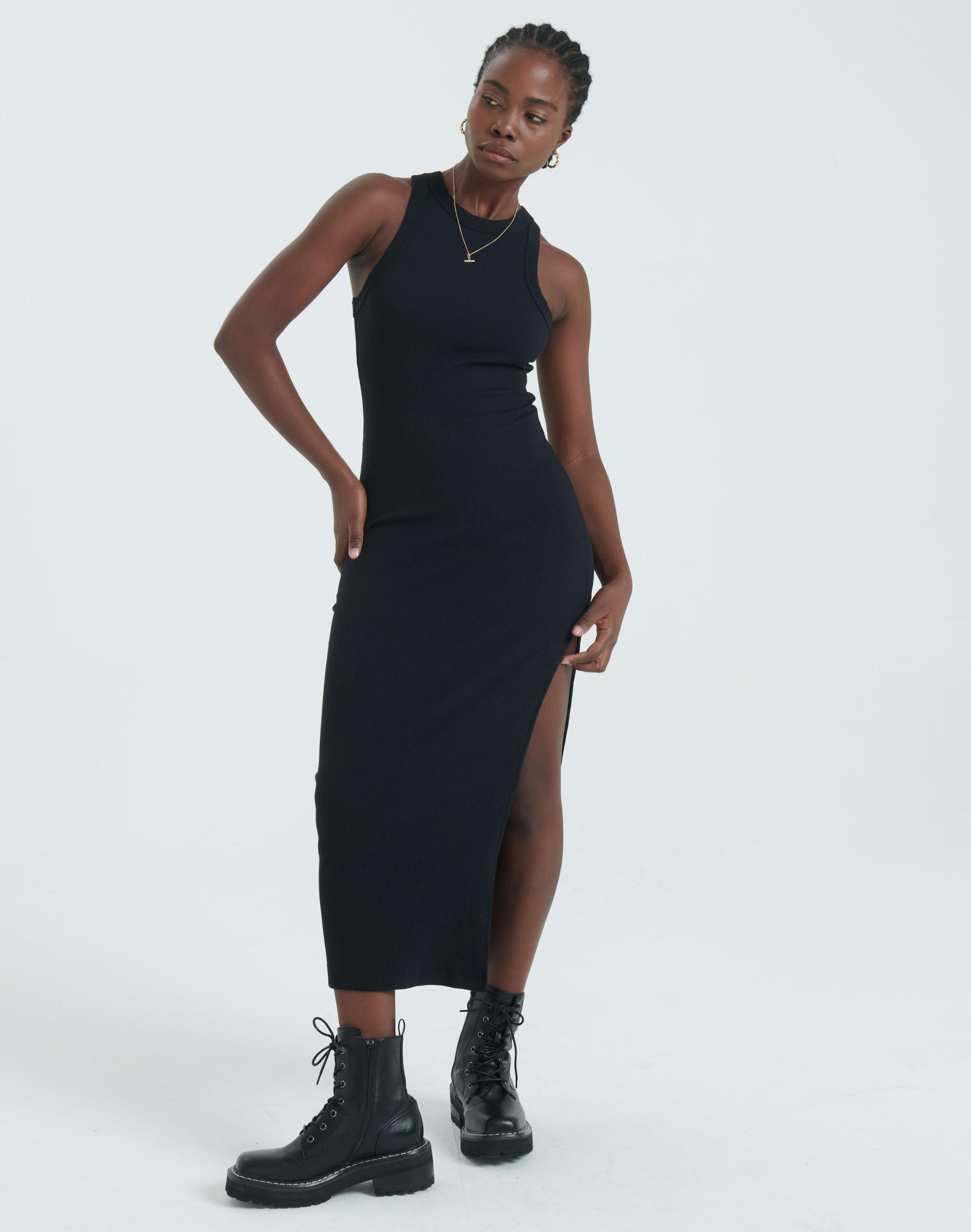 Knit Side Split Midi Dress