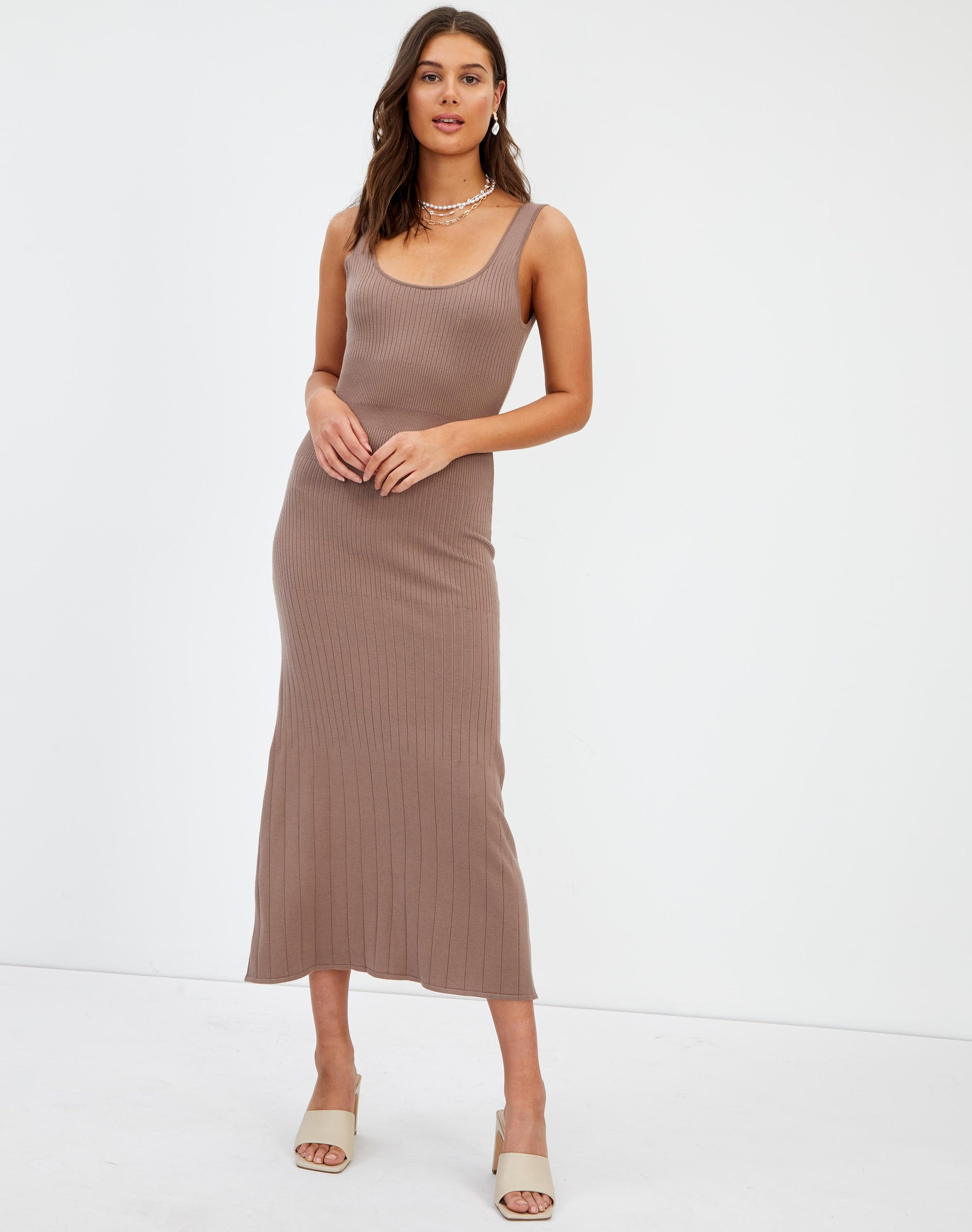 Backless Ribbed Knit Midi Dress